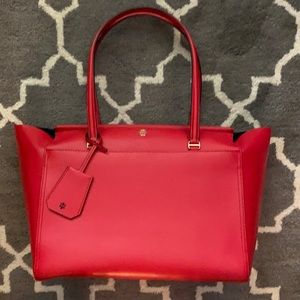 Tory Burch red saffiano leather tote